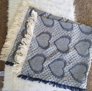 Blue bohemian heart throw blanket